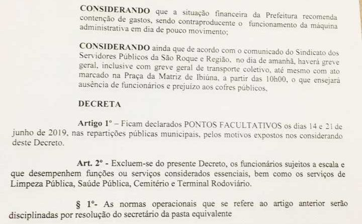 Prefeitura de Ibiúna decreta Ponto Facultativo nesta sexta-feira devido a greve geral